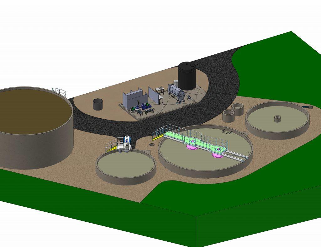 schémas 3d d une station d'épuration des eaux usées